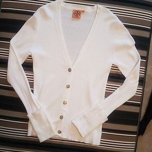 Tory Burch white ribbed cardigan